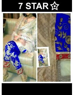 Bollywood Replica-Designer Beige & Blue Embroidered Jacquard Straight Salwar Suit - 1016