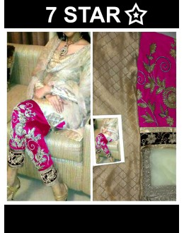 Bollywood Replica-Designer Beige & Pink Embroidered Jacquard Straight Salwar Suit - 1014