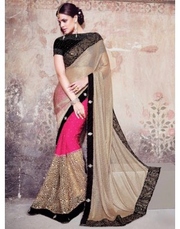 Bollywood Replica - Designer Beige & Pink Saree - 1596