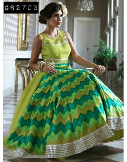 Bollywood Replica - Designer Green Silk & Net Anarkali Suit  - GB2703