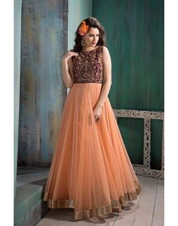 Bollywood Replica- Designer Orange Net  Party Wear Gown - G2