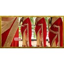 Bollywood Replica - Designer Red & Cream Velvet & Net Saree - 3083