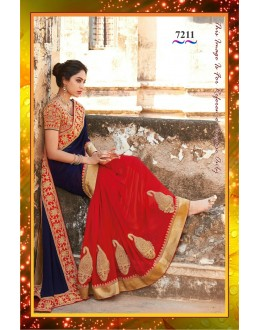 Bollywood Replica-Designer Red & Navy Blue Embroidered Georgette Party Wear Saree-7211