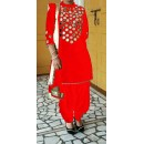 Bollywood Replica- Designer Red Cotton Mirror Work Patiala Salwar Suit - CM01