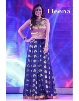 Bollywood Replica - Party Wear Blue & Golden Bhagalpuri Silk Lehenga Choli  - Heena01