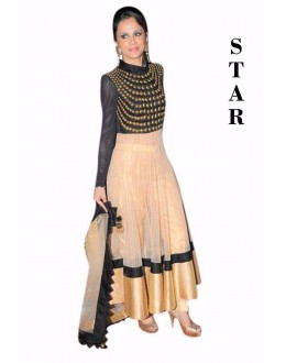 Bollywood Replica - Party Wear Cream & Black Net Anarkali Suit  - STAR