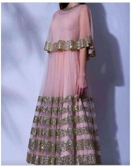 Bollywood Replica- Party Wear Fancy Pink Net Gown - P01