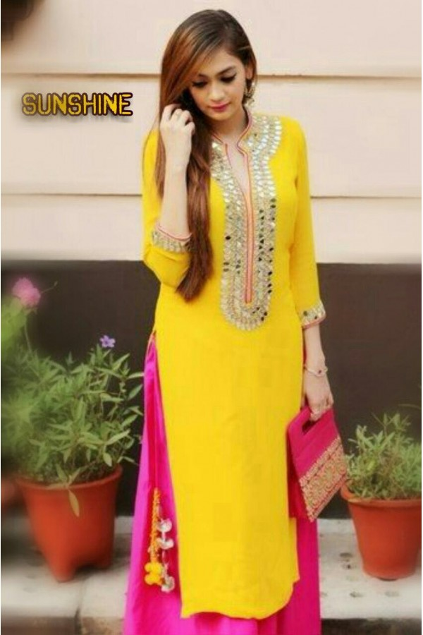 8bd2772c45d Bollywood Replica - Party Wear Yellow   Pink Mirror Work Salwar Suit -  SUNSHINE