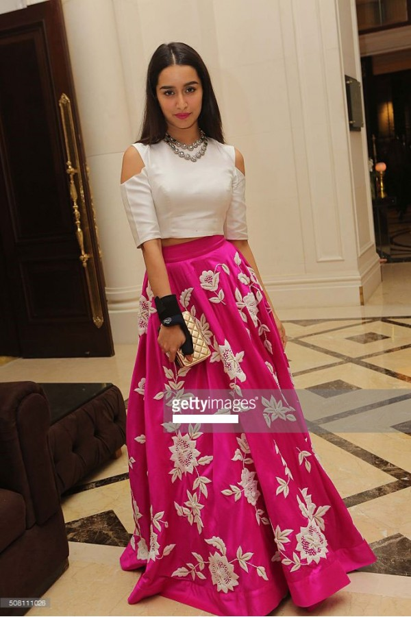 1a8b116f84c93 Bollywood Replica - Shraddha Kapoor Pink   White Party Wear Crop Top Lehenga  ...