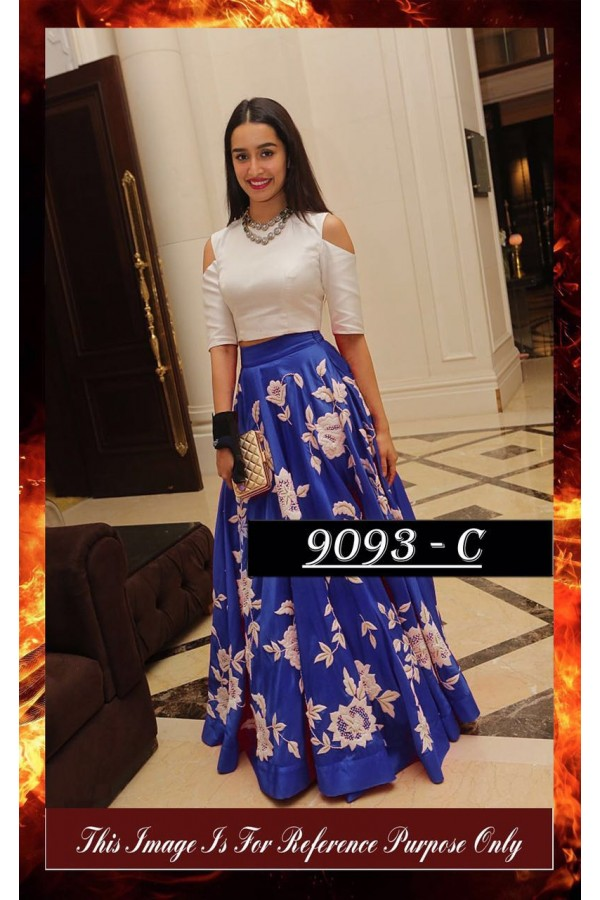 Bollywood Replica - Shraddha Kapoor Blue & White Party Wear Crop Top Lehenga - 7270