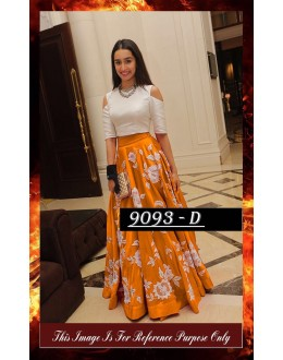 Bollywood Replica - Shraddha Kapoor Orange & White Party Wear Crop Top Lehenga - 7270
