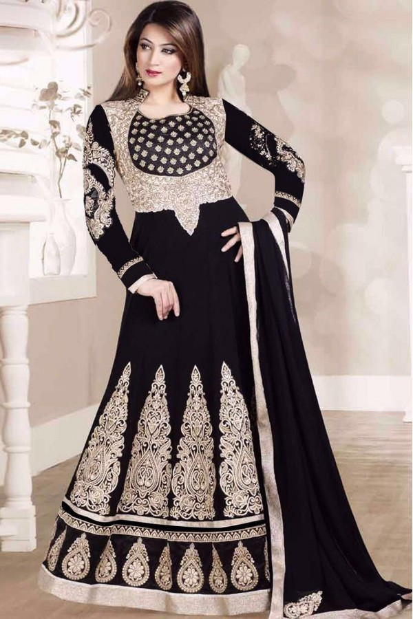 Bollywood Replica - Wedding Wear Black Velvet Anarklai Suit - Ambica