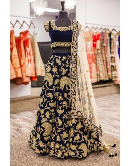 Bollywood Replica - Wedding Wear Blue Velvet Lehenga Choli - 9065
