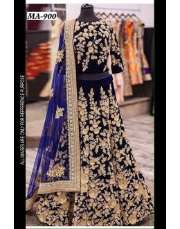 Bollywood Replica - Wedding Wear Blue Velvet Lehenga Choli  - MA-900