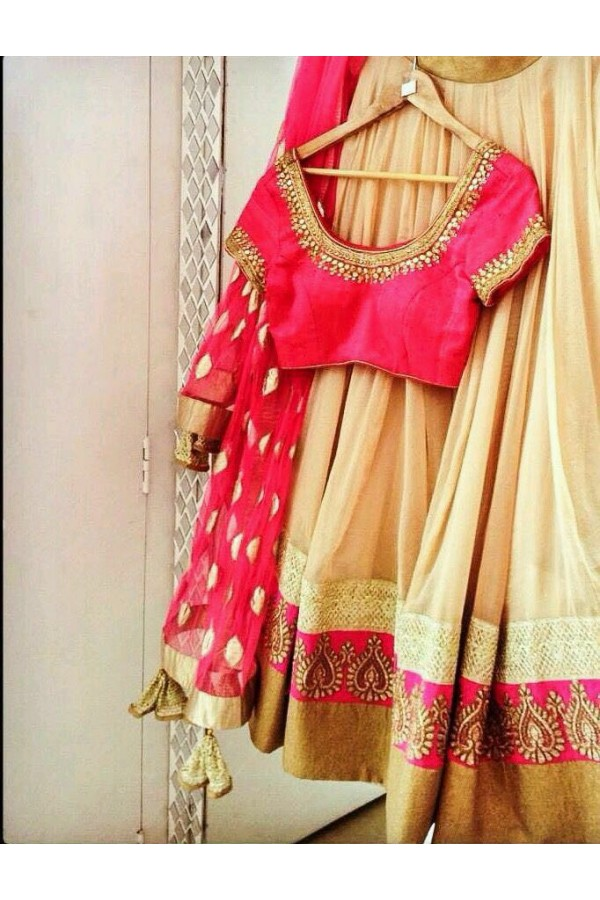 Bollywood Replica - Wedding Wear Cream & Pink  Lehenga Choli - LF025