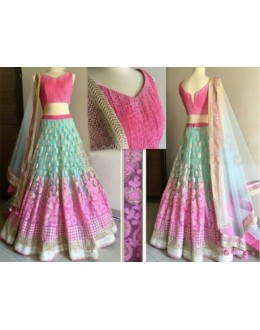 Bollywood Replica -  Wedding Wear Pink & Blue Lehenga Choli  - N01