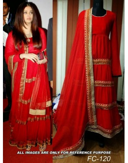 Bollywood Replica - Aishwarya Rai in Red Net Anarkali Dress - FC-120