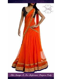 Bollywood Replica - Beautiful Orange Color Net Lehenga - 7060 (IB-654)