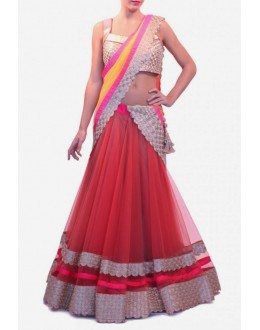 Bollywood Replica - Beautiful Red Color Net Lehenga - 7068 (IB-654)
