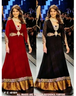 Bollywood Replica - Madhuri Dixit In Designer Black Or Red Anarkali Suit Walk At IIJW 2012 - FC-6101