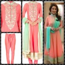 Bollywood Replica - Madhuri Dixit In Pink and Sea Green Color Anarkali Suit - S118