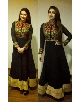 Bollywood Replica - Prachi Desai Blue and Red Georgette Maharani Neckline Anarkali Suit - S113