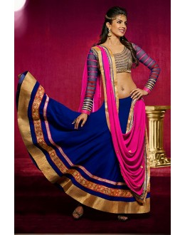 Bollywood Replica - Priyanka Chopra Blue Color Embroidered Lehenga - 7042 (IB-653)