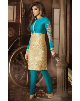 Bollywood Replica - Priyanka Chopra Teal Blue & Golden Churidar Suit - 7027 (IB-653)