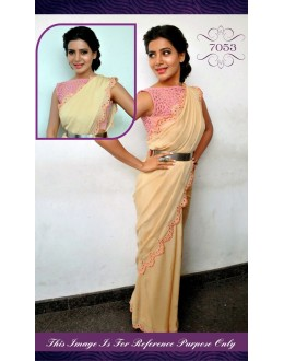 Bollywood Replica - Samantha Cream colour Georgette Net Saree - 7053 (IB-654)