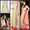 Bollywood Replica - Sania Mirza in Beige Embroidered Anarkali Suit - S123