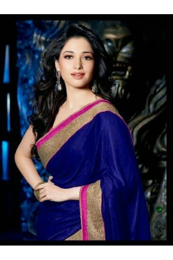 Tamanna Blue Saree: Bollywood Special : Bollywood Replica