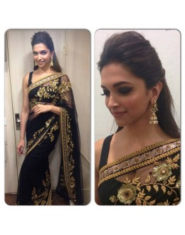 Bollywood Replica - Deepika Padukone in Embroidered Net Black Saree - 5330