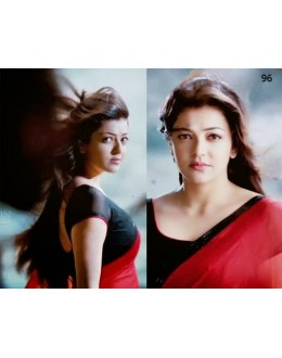 Bollywood Replica - Kajal Aggarwal in Plain Georgette Red Saree - 5378