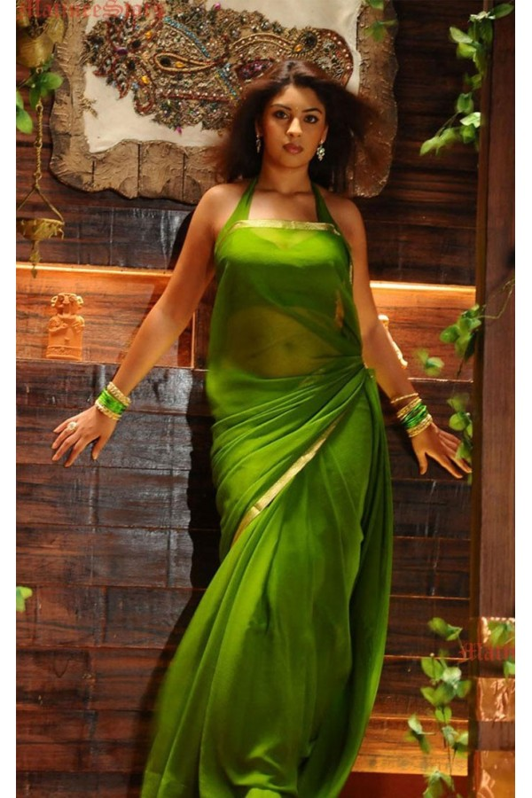 Bollywood Replica - Richa Gangopadhyay In Plain Georgette Parrot Green Saree - 3653