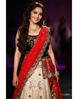 Madhuri Dixit Cream Lehenga By Anju Modi At Delhi Couture Week