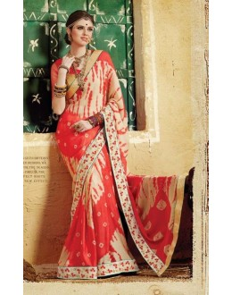 Party Wear Cream & Red Georgette  Saree - 3509