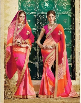 Party Wear Multicolor Georgette  Saree - 3502