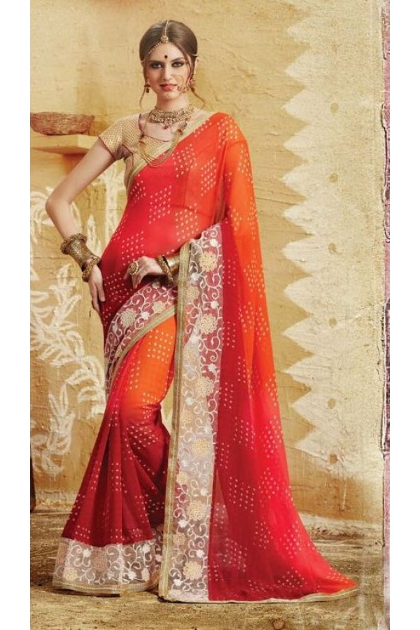 Party Wear Red & Orange Georgette  Saree - 3511