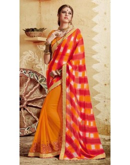 Party Wear Yellow Georgette  Saree - 3505