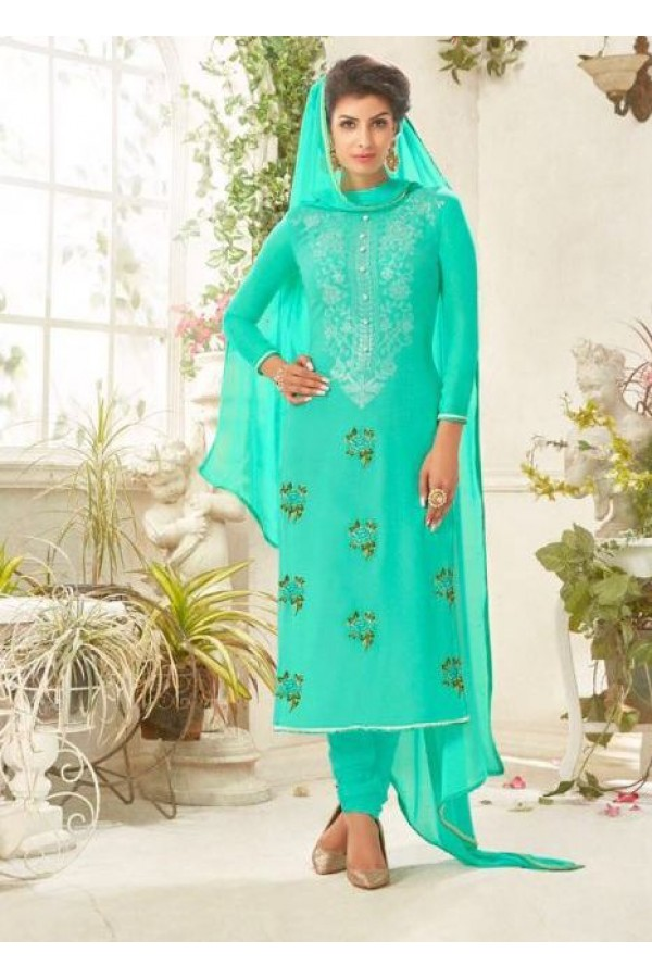 Party wear Green Georgette Salwar suit - 229