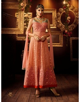 Eid Special Orange Art Silk Anarkali Suit - 108