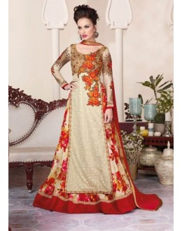 Eid Wear Cream Net Designer Anarkali Suit - 3804
