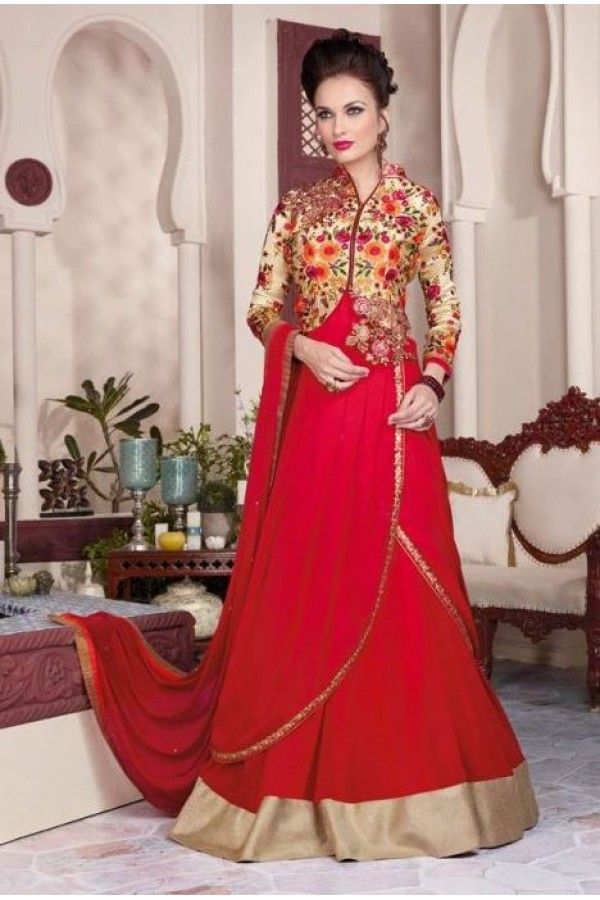 Eid Wear Red Georgette Designer Anarkali Suit - 3807