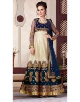 Eid Wear Black & Blue Velvet & Raw Silk Designer Anarkali Suit - 3808