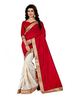 Ethnic Wear Red & White Saree  - TM-254