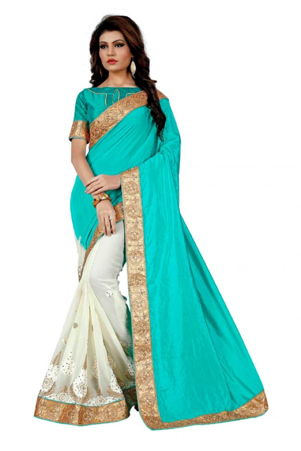 Party Wear Turquoise & Off White Saree  - TM-258