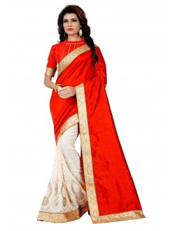 Ethnic Wear Red & Off White Saree  - TM-259