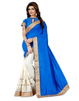 Ethnic Wear Blue & Off White Saree  - TM-261