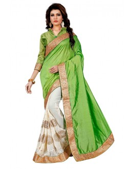 Festival Wear Green & Off White Saree  - TM-265