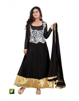 Bollywood Replica - Katrina Kaif Designer Embroidered Black Georgette Long Party Wear Anarkali Suit - TM-75